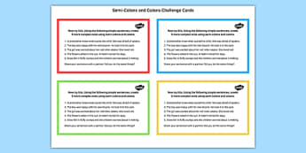Semi Colons and Colons Challenge Cards - semi-colons, colons, challenge, cards