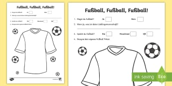 Football Activity Sheet - Sports, Football, German, MFL, Languages, Fußball, Trikot,Sport, Hobby, Hobbies, Deutsch, worksheet