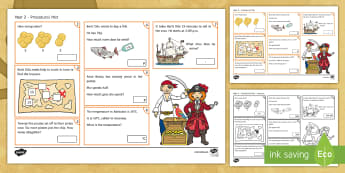 Year 2 Pirate-Themed Procedural Activity Mat  - pirate, year 2, pirates, maths, numeracy, procedural.,Welsh