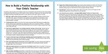 Building a Positive Relationship with Your Child's Teacher Parent and Carer Information Sheet - wellbeing, health, fitness, parents, carers, bullying, support, emotional health, mental health, rel