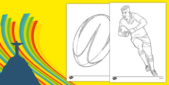 Rio 2016 Olympics Rugby Colouring Sheets - rio olympics, 2016 olympics, rio 2016, rugby, colouring sheets