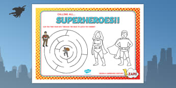Superhero Themed Birthday Party Activity Place Mats - props