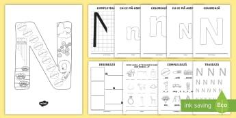 Consolidarea literei N Broșură - alfabetul, alfabetar, litere, sunete, grafisme,Romanian
