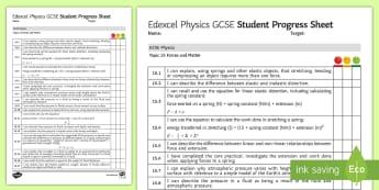 Edexcel Style GCSE Physics, Forces and Matter Progress Sheet - pressure, Pascal, Extension, Fluids, floats