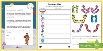 Design an Alien - Recording Using Marks Activity Resource Pack - Mathematics, number, counting, count, data Analysis, data handling, aliens, space, astronaut.