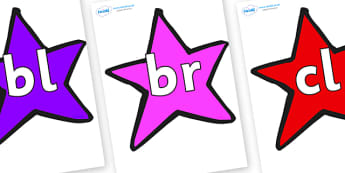 Initial Letter Blends on Stars (Multicolour) - Initial Letters, initial letter, letter blend, letter blends, consonant, consonants, digraph, trigraph, literacy, alphabet, letters, foundation stage literacy