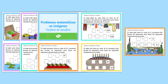 Problemas matemáticos en imagenes Tarjetas de desafío de matemáticas de atención a la diversidad-Spanish