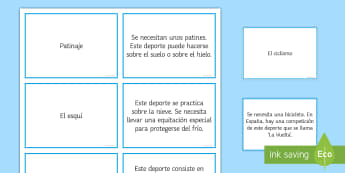 Guess the Sports Card Game Spanish - Spanish, Vocabulary, sports, guess, game, cards, descriptions