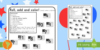 Independence Day Roll and Color Activity Sheet US English/Spanish (Latin) - 4th july, activity sheet, worksheet, dice, addition, numeracy