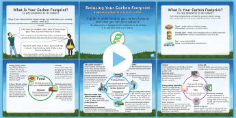 Earth Day: Reducing Your Carbon Footprint PowerPoint English/Romanian - KS2, Year 3, Year 4, Year 5, Year 6, Earth Day, information, climate change, carbon footprint, reduc