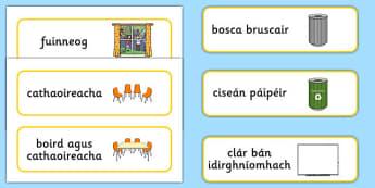Classroom Furniture Labels Gaeilge - gaeilge, Classroom furniture, furniture label, door, chair, table, window, desk, carpet, bin, dustbin, whiteboard, chalkboard, classroom areas