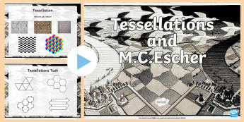M.C. Escher And Tessellations   PowerPoint - Escher, MC Escher, tessellation, tessellation design, patterns.