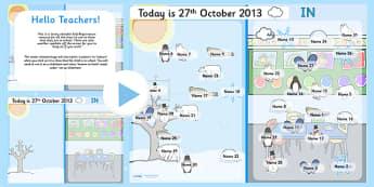 Winter Themed Self Reg Seasonal PowerPoint - winter, self registration, self reg, daily routine, pupil registration, powerpoint, self reg powerpoint, seasons