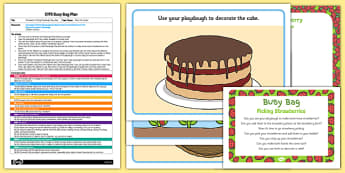 Picking Strawberries Playdough EYFS Busy Bag Plan and Resource Pack - strawberry, PYO, pick your own, fruit farm, cake, basket, early years, planning