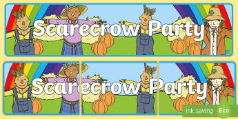 Scarecrow Party Display Banner - autumn, fall, scarecrow, display banner, scarecrow party, fall party, scarecrow party display banner