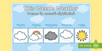 Weekly Weather Recording Chart English/Romanian - Weekly Weather Recording Chart - weather, weather calendar, weekly weather calendar, weakly weather