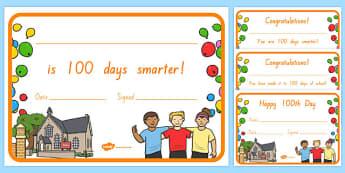 100 Days of School Certificates