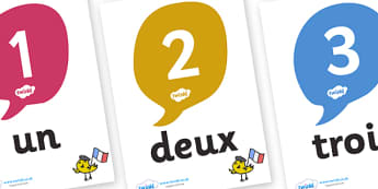 French Numbers 0-20 Posters - MFL, French, Modern Foreign Languages, French numbers, foundation, languages, display, francais, numeracy, flashcards