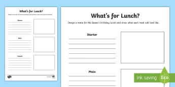 The Queen\'s Birthday Lunch Activity Sheet - Australia English: The Queen's Birthday, lunch, menu, queen, birthday, party, Australia