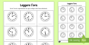 Leggere l'ora e mezza ed esatta Attività - leggere, l, ora, orologio, analogico, attivita, esercizio, matematica, italiano, italian, materiale,