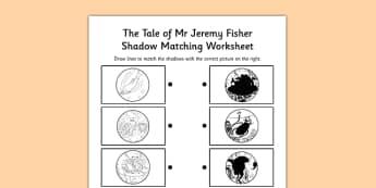 Beatrix Potter - The Tale of Mr Jeremy Fisher Shadow Matching Activity - beatrix potter, mr jeremy fisher, shadow matching, activity