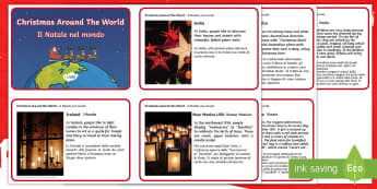 Christmas Around the World Fact Cards English/Italian - christmas, around the world, fact cards, fact, cards,india, brazil, USA, translation, EAL
