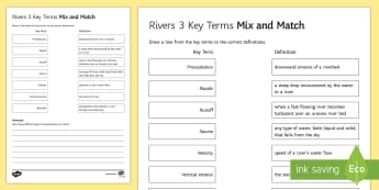 Rivers Mix and Match 3 Activity Sheet - river, source, meander, physical, challenge, UK, AQA, worksheet, revision, KS4
