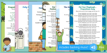 Positional Language Songs and Rhymes Resource Pack - Singing, Song Time, Position, Prepositions, In, On ,Under, Above, Below, Between , playdough, beanba