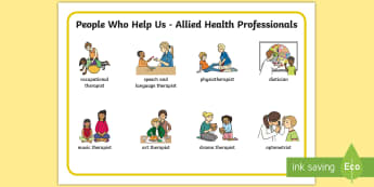 People Who Help Us - Allied Health Professionals Word Mat - AHP, speech therapist, occupational therapist, physiotherapist, SLT, OT, PT,