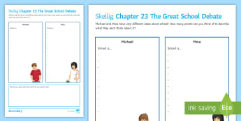 Chapter 23 The Great School Debate Activity Sheet to Support Teaching On 'Skellig' by David Almond - Skellig, David Almond, Michael, Mina, KS3 Literature, KS3 Novel, Low Ability Reading, Year 7 Novel,