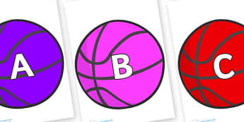 A-Z Alphabet on Basketballs - A-Z, A4, display, Alphabet frieze, Display letters, Letter posters, A-Z letters, Alphabet flashcards