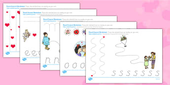 Valentine's Day Pencil Control Worksheets Romanian Translation - romanian, valentines, control