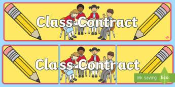 Our Class Contract Banner - banner, class contract, start of year, rules, agreement,Irish