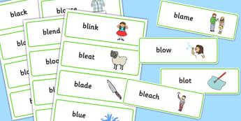 BL Word Cards - bl sound, word cards, word, cards, sound, bl, sen