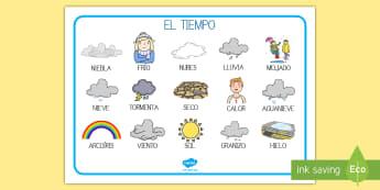 Tapiz de vocabulario: El tiempo - el tiempo, sol, nube, hielo, tormenta, frío, calor, granizo, vocabulario, tapiz, tiempo, meteoroló