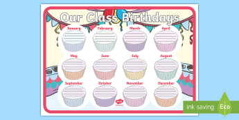 Cupcake Themed Our Class Birthday Chart Display Poster  - birthday, display pack, pack, birthday