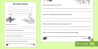 My Lenten Promise Writing Activity Sheet - World Around Us KS2 - Northern Ireland, Easter, Lent, Lenten Promise, fasting, Holy Week, Religious