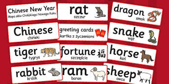 Chinese New Year Topic Word Cards Polish Translation Version