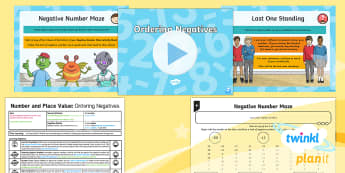 PlanIt Y5 Number and Place Value Lesson Pack Negative Numbers (2) - Number and Place Value, negative, minus, plus, order, below, zero, Interpret Negative Numbers in Con