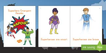 Superheroes Emergent Reader - superheroes, comics, comic book, superheroes emergent reader, pre-k literacy, kindergarten literacy,