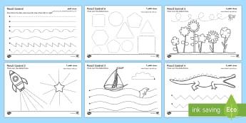 Pencil Control Activity Sheet (Additional Activities) Arabic/English - Pencil Control Worksheet - pencil control, worksheet, sheet, activity, literacy, tracing, rocket shi