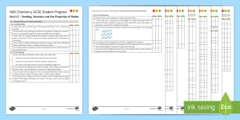 AQA Chemistry Unit 4.2 Bonding, Structure and the Properties of Matter Student Progress Sheet - Student Progress Sheets, AQA, RAG sheet, Unit 4.2 Bonding, Structure and the Properties of Matter.