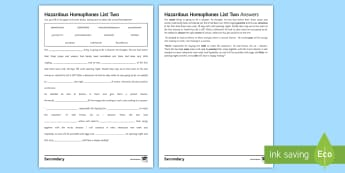 Hazardous Homophones List Two Cloze Activity Sheet - KS3, SPAG, spelling, word, activity, cloze, homophone, homophones, language, worksheet