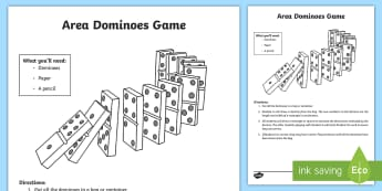 Area Dominoes Game - area, multiplication, measurement, Dominos, Game, dimensions