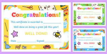 EYFS End of Year Certificates