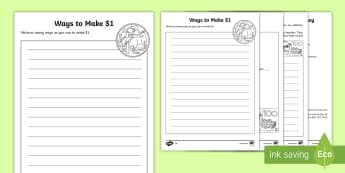 100 Ways to Make Money Differentiated Activity Sheets - 100 Days Of School, 100, $100, yr 3, yr 4, yr 5, yr 6, money,