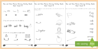 Rise and Shine Phonics Short 'a' Morning Activity Sheets - short vowels, short a, morning work, phonics, worksheets