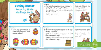 Year 1 Saving Easter Reasoning Maths Challenge Cards - Children's Books, story, book, Easter, save, saving, Easter Bunny, bunny, bunnies, stories, chick,