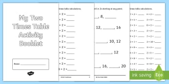 Two Times Table Activity Booklet - Multiplication, tables, times tables, multiplication tables,