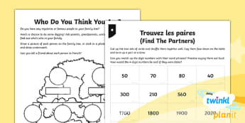 PlanIt - French Year 5 - Time Travelling Home Learning Tasks - french, languages, number, counting, hundred, thousand, match, date, research, family, relatives, bi